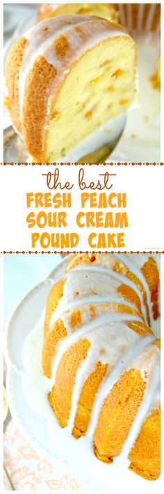 The BEST Peach Pound Cake-- A Buttery, Tender, Super Moist, Sour Cream Pound Cake Loaded With Fresh, Juicy Peaches!
