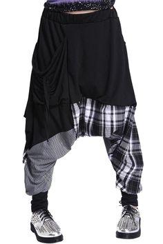 Stripe Plaid Splicing Harem Pants