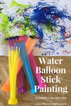 Task Shakti - A Earn Get Problem Water Balloon Stick Painting - Water Balloon Painting - Summer Painting For Kids - Painting With Textures For Kids - Messy Crafts For Kids - Messy Summer Art - Bunch O Balloons Summer Painting, Painting For Kids, Art For Kids, Crafts For Kids, Toddler Crafts, Easy Crafts, Summer Art Activities, Painting Activities, Preschool Art