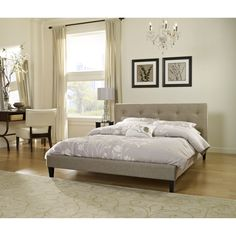 Add a modern sophistication to your bedroom with the Pocono platform bed. Upholstered in a light taupe linen featuring a beautiful tufted design, this is the perfect complement for any bedroom.