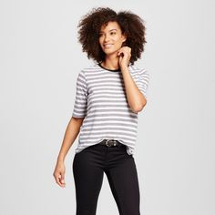 Women's Rib Trim Elbow Sleeve Tee White/Black Stripe Xxl - Who What Wear