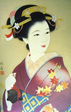 A woman holding a cricket cage. Japanese Art Modern, Japanese Drawings, Japanese Artwork, Japanese Painting, Japanese Beauty, Japanese Culture, Vintage Japanese, Art Geisha, Geisha Kunst
