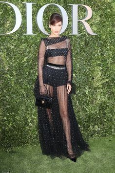 Miss Dior: Bella Hadid leads the glamour in a semi sheer black gown revealing her toned pins and her tiny waist as she and fellow fashion stars celebrate 70 years of Christian Dior at Paris Fashion Week