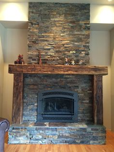 Heritage Salvage has a wide selection of reclaimed building materials including beams and reclaimed wood perfect for mantels. Rustic Fireplace Mantels, Wood Mantels, Farmhouse Fireplace, Home Fireplace, Fireplace Remodel, Fireplace Inserts, Fireplace Surrounds, Fireplace Design, Reclaimed Wood Mantel