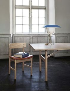 Scandinavian design chair / leather / oak / beech - ERRITSØ : 3236 by Børge Mogensen - Fredericia Furniture
