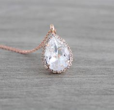 Rose gold Bridal necklace, Wedding jewelry, Wedding necklace, Swarovski necklace, Teardrop necklace, Bridesmaid necklace, Simple necklace by CoutureBridalStudios on Etsy https://www.etsy.com/listing/513512653/rose-gold-bridal-necklace-wedding