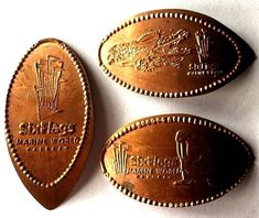 Elongated Pressed Penny Coin SIX FLAGS MARINE # 2 - COPPER