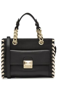 KARL LAGERFELD Leather Tote. #karllagerfeld #bags #leather #hand bags #lace #tote #