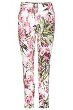Spring pants from Dolce and Gabbana match with floral nail wraps and a crisp white blouse