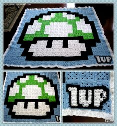 giant crocheted mario 1UP blanket! ::1up:: by *SPG82