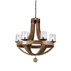 Hockley Pine Wine Barrel Chandelier Artcraft Lighting JA486
