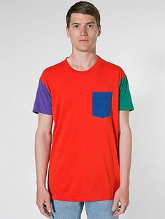American Apparel - Power Washed Color Block Pocket Tee