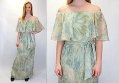 Vintage 70s Pale Green Floral Print Watercolor Off Shoulder Flutter Sleeve Long Full Length Maxi Dress Hippie Romantic Ethereal Pleats by BlueFridayVintage on Etsy