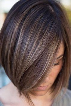 Sleek Ash Brown Balayage Bob Chic box style with baby lights in a delicate ash brown or a bolder cinnamon hair color. Brown Hair With Lowlights, Brown Balayage, Brown Hair With Highlights, Brown Hair Colors, Brown Blonde, Blonde Balayage, Color Highlights, Ash Brown, Balayage Straight
