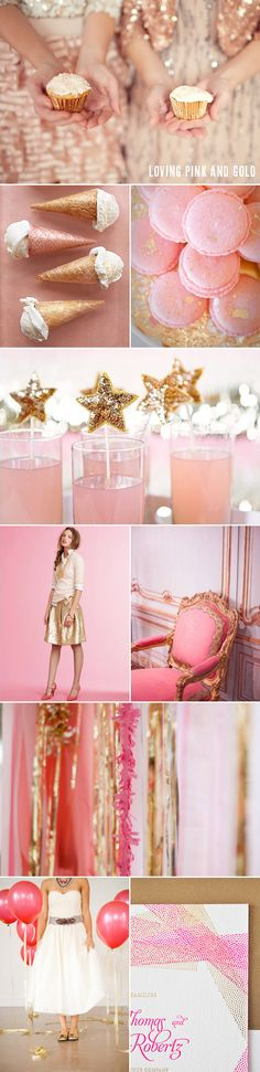 Pink and Gold party decorations Gold Wedding Colors, Pink And Gold Wedding, Sparkle Wedding, Pink Gold Party, Glitter Party, Pink Und Gold, Rose Fuchsia, Festa Party, Pink Parties