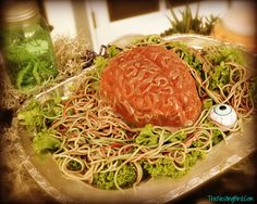 """Brain Food: Buy this fun jello mold, add food coloring to your spaghetti (for worms) and what do you get...an """"EYE POPPING"""" center piece for your Halloween Buffet. Just some food for thought ;)"""