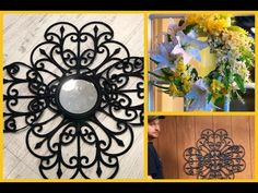 Dollar Tree Decor, Dollar Tree Store, Dollar Tree Crafts, Dollar Stores, Diy Spring Wreath, Diy Wreath, Wreaths, Hanger Crafts, Wrought Iron Decor