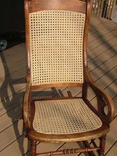Lincoln Rocker how to cane a chair bottom and back.  I would call this a Taylor chair.  Am working on one now.