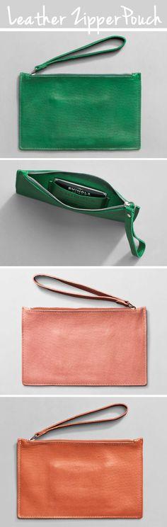 Leather Zipper Pouches / Wristlet - cute #gift idea, non size-specific…
