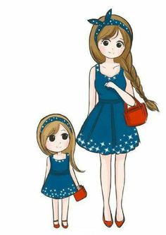 daughter mother drawing child mothers anime cartoon manga daughters mom matching hija drawings element disney dresses uploaded user outfits ab