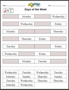 Days of the Week: Activities, Worksheets, Printables, and Lesson Plans this will be used in the classroom to help keep track of the days