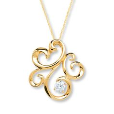 Diamond Necklace 1/10 Carat Round-cut 10K Yellow Gold