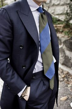Window Pane Suit with solid shirt and striped Tie