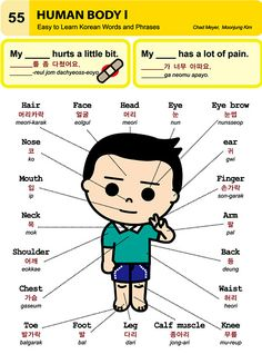 body parts Korean and english