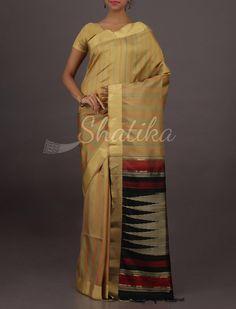 Prabha Cream And Stripes Elegant Pure #UppadaSoftSilkSaree