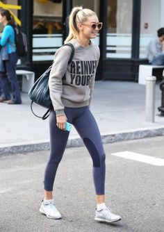 Valley Eyewear Sunglasses Farah Khan Reinvent Yourself Sweater Elizabeth & James Cynnie Sling Bag and Nike Flyknit Sneakers. The post Gigi Hadid. Valley Eyewear Sunglasses Farah Khan Reinvent Yourself Sweater El appeared first on fitness. Sport Style, Gym Style, Fitness Style, Fitness Gear, Nike Fitness, Fitness Motivation, Estilo Gigi Hadid, Gigi Hadid Style, Sporty Look