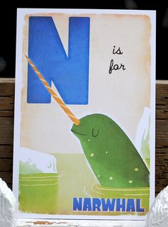 n is for a sleepy narwhal print $5