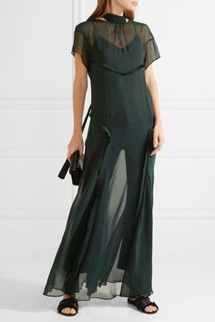 Cédric Charlier - Open-back Ruffle-trimmed Chiffon Maxi Dress - Emerald - IT46