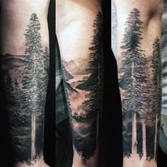 Black And Grey Nature Tree Tattoo Design For Forearm