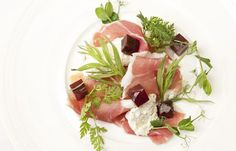 starter: Salad of goat's cheese parma ham and beetroot