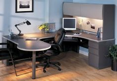 "Peninsula U-Workstation with Hutch & Box/Box/File - Right Bridge . $2199.00. Shown with Right Bridge. Keyboard, Tackboard, & Task Light sold separately below. Measures 72""W x 96""D x 65""H overall. Shpg. wt. 491 lbs. PRICE INCLUDES FREIGHT! (Truck shipment - See Terms & Conditions)."
