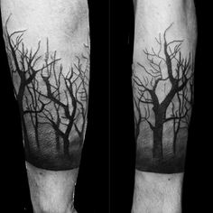 Dark Forest Shaded Mens Trees Tattoo On Forearm