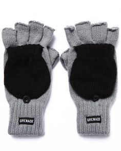Grenade #Convertible Knit Gloves Knitted #Fingerless Ribbed Cuff One Size #Grenade #WinterGloves