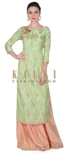 Buy this Pista green straight suit embellished in zardosi butti only on Kalki