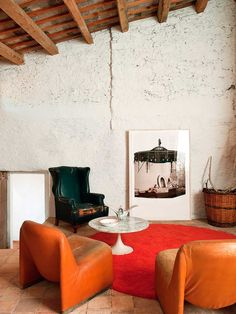 Rustic Style Living Room With Rust Leather Chairs And Persimmon Orange Area Rug