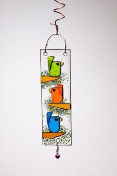 Trio Birds in Orange Blue and Green Handmade Fused Glass Suncatcher Ornament Broken Glass Art, Shattered Glass, Sea Glass Art, Stained Glass Art, Glass Fusion Ideas, Glass Fusing Projects, Glass Art Pictures, Glass Art Design, Fused Glass Ornaments
