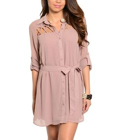 Look at this Mauve Tie-Waist Shirt Dress on #zulily today!