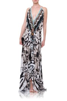 09ee29554428 3 ways gown Black and White Tiger Long Dress. Tropical DressPrinted JumpsuitTiger  ...