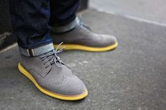 Cole Haan Wingtip Lunargraad... Wingtips with a Nike lunarlon sole, just in case you need to go jogging in a suit.