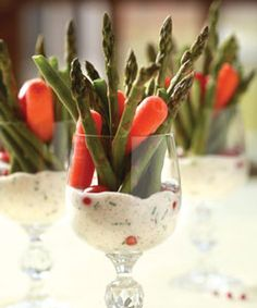 Individual Appetizer Glasses...    Pink Peppercorn Yogurt Dip:    1/2 cup yogurt  1/2 cup mayonnaise or sour cream  1 tablespoon crushed red (pink) peppercorns  1/4 cup chopped chives  1 teaspoon chopped fresh thyme  2 cloves garlic, finely minced  1 teaspoon salt pink peppercorn, yogurt dipyum, appetizer presentation, peppercorn yogurt, food styling, food plating, food presentation, dips, dip recipes