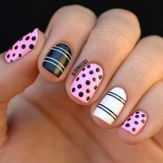 Pink and Black Polka Dots and Black and White Stripes #nailart