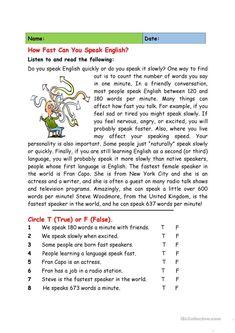 How Fast Do You Speak English? worksheet - Free ESL printable worksheets made by teachers Reading Comprehension Worksheets, Reading Fluency, Reading Passages, English Grammar Worksheets, English Vocabulary, English Teaching Materials, Teaching English, Reading Practice, Reading Skills