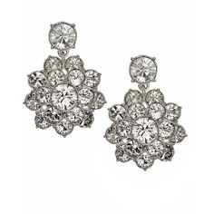 Givenchy Marion Sparkle Flower Earrings (830 ZAR) ❤ liked on Polyvore featuring jewelry, earrings, silver, blossom jewelry, silver tone earrings, flower earrings, post earrings and givenchy earrings