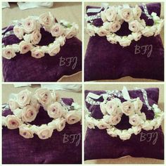 Baby pink and white flower  halos for flower girls  by bridal flower jewellery