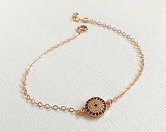 Rose Gold Evil Eye Bracelet Gold Filled Blue Crystal Bracelet, Silver Pave Blue Evil Eye Bracelet, Gold Evil Eye Bracelet, Gift