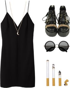 thepolyvorecollection:    Constant as the stars above by opaki featuring black lace up booties  T By Alexander Wang cami dress / Black lace up booties / Minor Obsessions yellow gold necklace